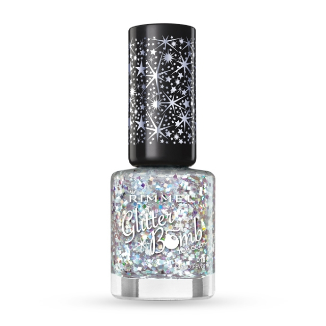 RIMMEL- London-Glitter Bomb-018-Disco fever,nadlak z bleščicami, 8ml